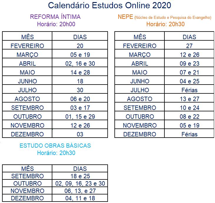 Calendário Cursos Online